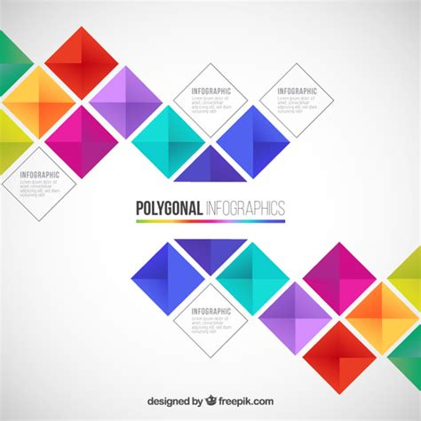 colorful designer polygonal infographic in colorful style vector free