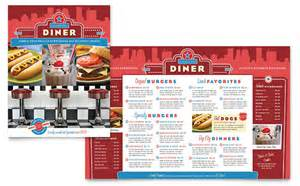 Diner Menu Template Free by American Diner Restaurant Menu Template Design