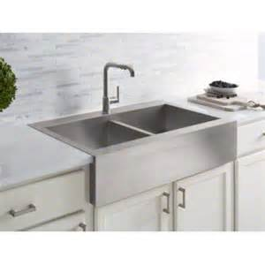 Top Mount Apron Front Kitchen Sink Kohler 35 3 4 Quot X 24 5 16 Quot X 9 5 16 Quot Top Mount Equal Stainless Steel Kitchen Sink With