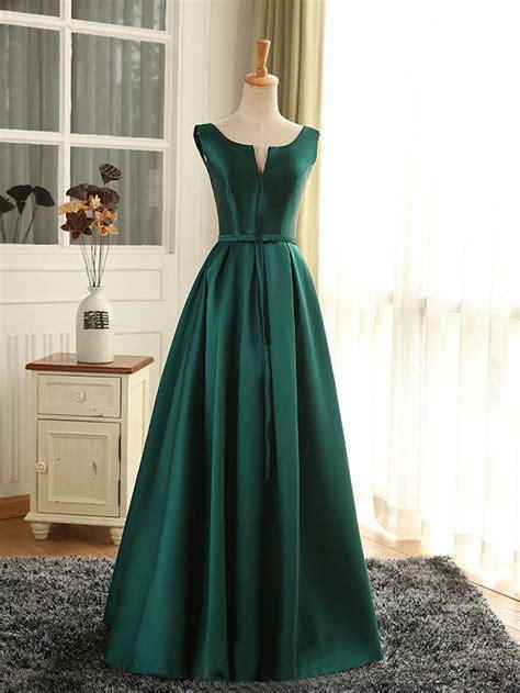 cheap prom dresses sexy scoop dark green satin long prom