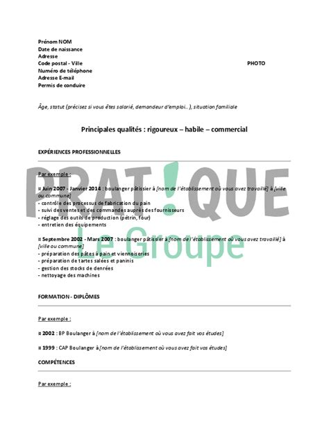Exemple Lettre De Démission Boulangerie Mod 232 Le De Cv Pour Un Emploi De Boulanger P 226 Tissier Confirm 233 Pratique Fr