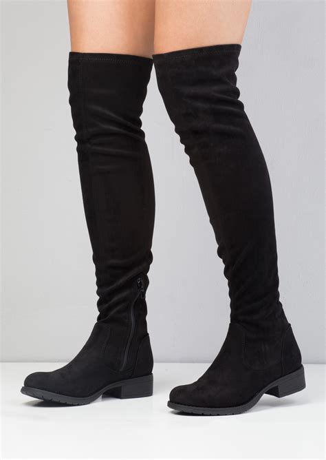 the knee black high heel boots the knee high faux flat suede boots black