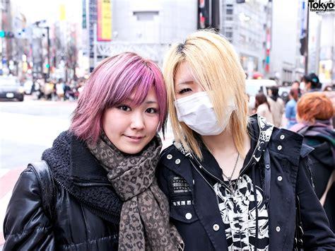 hair by tokyo platform buckle boots ripped leggings pink hair in shibuya