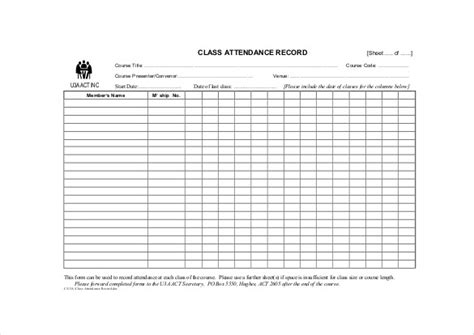 classroom attendance sheet template submited images