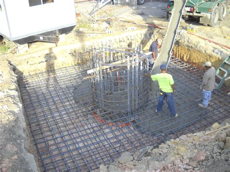 excavation for and installation of mat slab tower