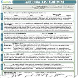 california rental agreement