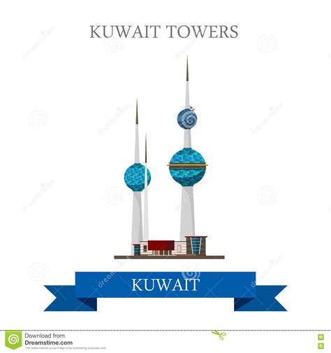 Historic Floor Plans by Kuwait Towers Vector Flat Attraction Landmarks Stock