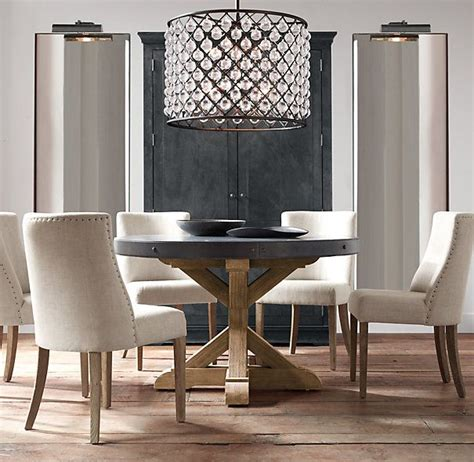 restoration hardware round round dining salvaged wood and concrete x base