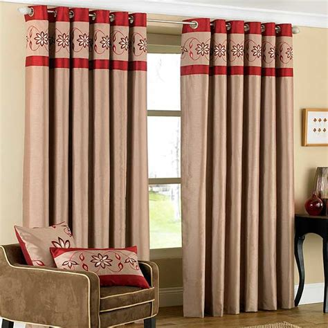red embroidered curtains riva home petra floral embroidered faux silk eyelet