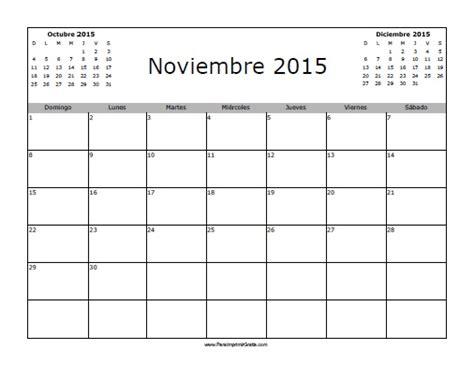 Calendario Noviembre 2015 Calendario Noviembre 2015 En Blanco Para Imprimir Gratis