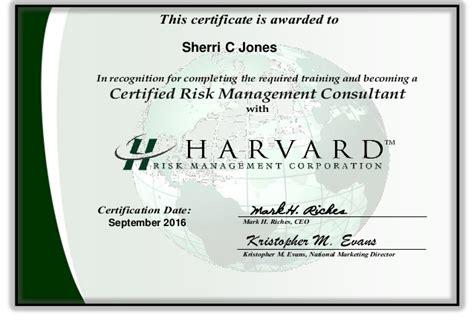 Risk Consultant by Certificate Sherri Harvard Risk Management Consultant