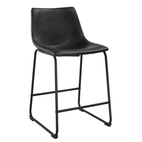Black Faux Leather Counter Stools by Walker Edison Faux Leather Counter Stools Black Set Of 2