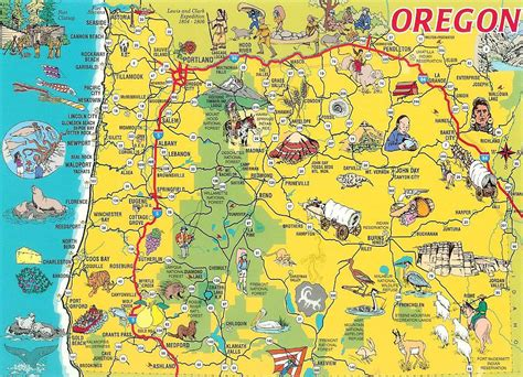 oregon usa map detailed tourist illustrated map of oregon state vidiani