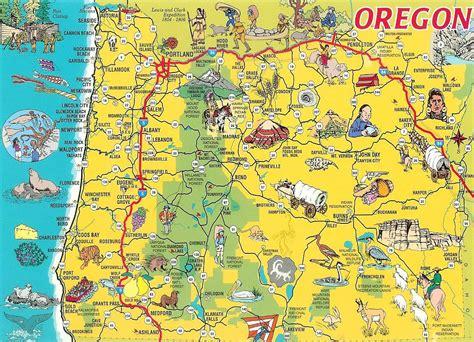 oregon state usa map detailed tourist illustrated map of oregon state vidiani