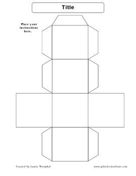 Cube Template Make Your Own Cubes By Laurie Westphal Tpt Make Your Own Dice Template