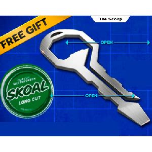 Skoal Sweepstakes - free keychain bottle and can opener gizmo from skoal vonbeau com