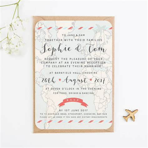 wedding invitations evening travel collection map and kraft evening invite by norma dorothy notonthehighstreet