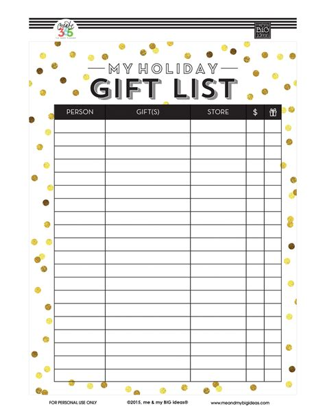 printable christmas gift list the happy planner christmas planners me my big ideas