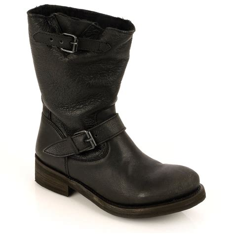 black leather biker boots tundra shearling lined black leather biker boot