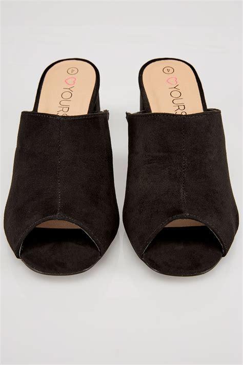C772 Black Sling Bag black mule sandals with block heel in true eee fit
