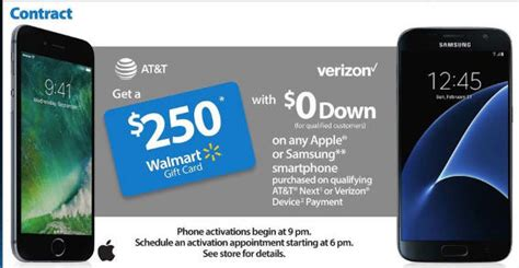 Walmart Gift Card Deals 2016 - black friday deal apple iphone w at t activation 250 walmart gift card
