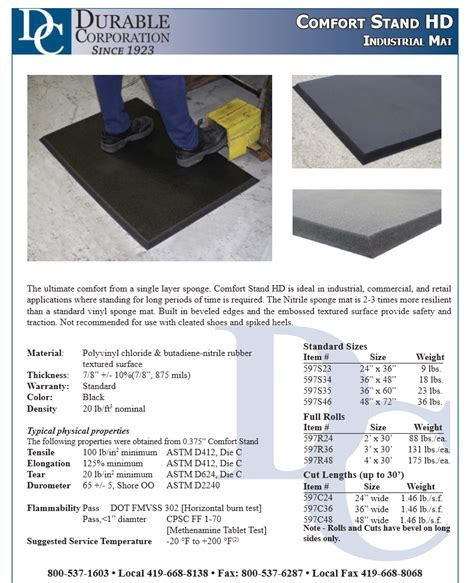 comfort stand durable corporation comfort stand hd mat review
