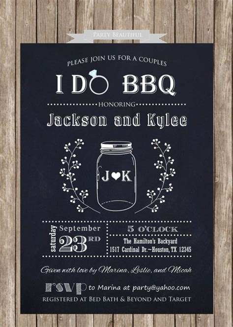 coed bridal shower couples or coed bridal shower printable invitation i do bbq chalkboa