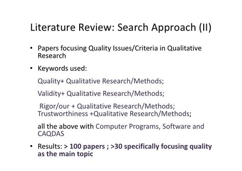 Literature Review For Research Methods by Literature Review For Qualitative Research