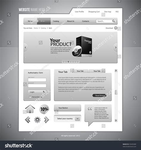 design menu buttons gray web elements website design components stock vector
