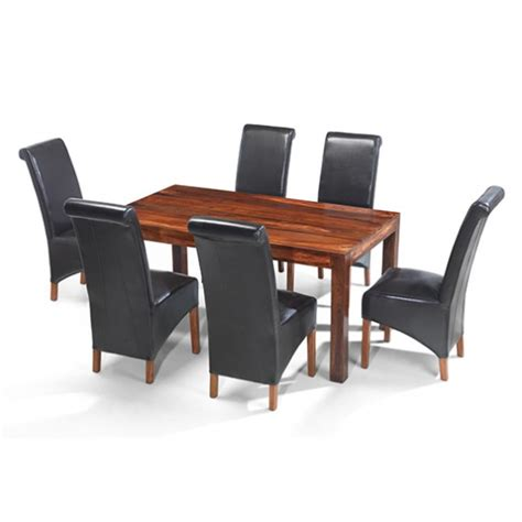 cuba sheesham 160 cm dining table and 6 chairs lifestyle
