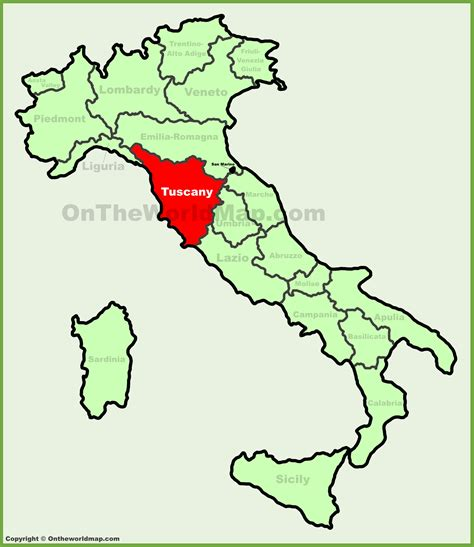 on the map tuscany location on the italy map