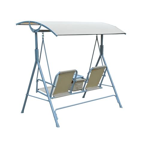 Patio Swing Table Outsunny 2 Person Covered Patio Swing W Pivot Table