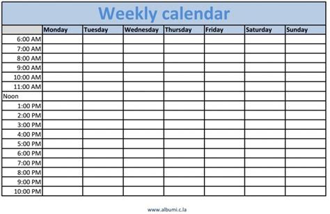 weekly calendar with time slots template printable 2017