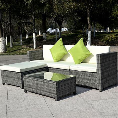 gray patio furniture giantex 5pc patio rattan wicker sofa set cushioned