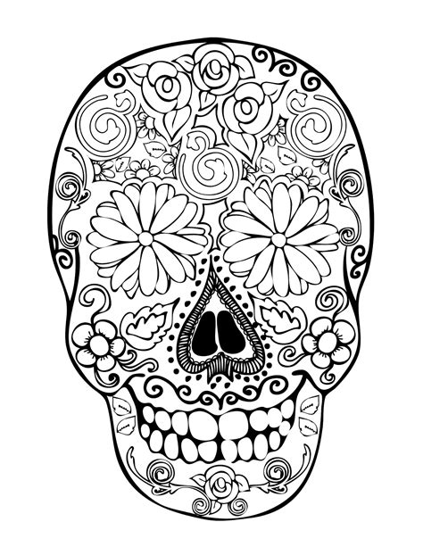 coloring pages for adults skulls daisies digis and doodads free digi sts