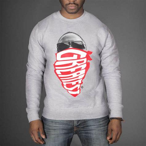 On Sweat Yay Black Grey Sweatshirt z bandana biggie the greatest sweatshirt wehustle