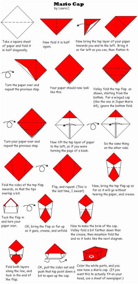 How To Make Origami Cap - origami mario cap by ongaru on deviantart