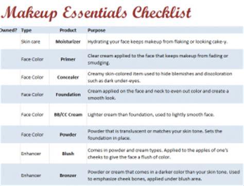makeup essentials checklist
