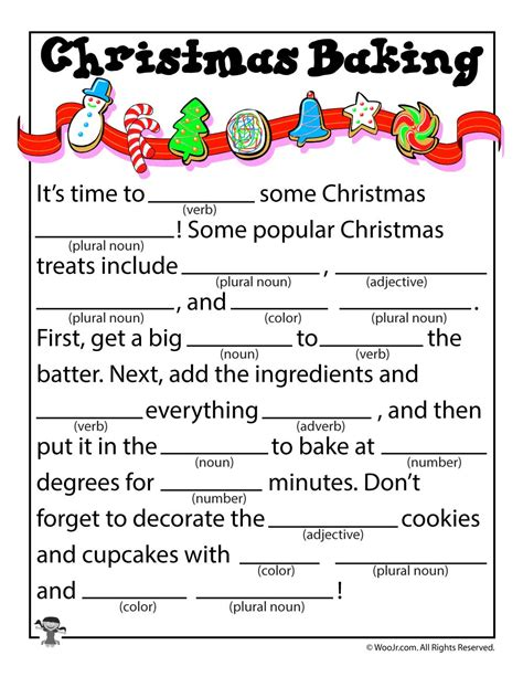 printable christmas mad libs christmas baking kid s mad libs woo jr kids activities