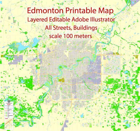 printable edmonton area map edmonton printable pdf map canada exact max detailed