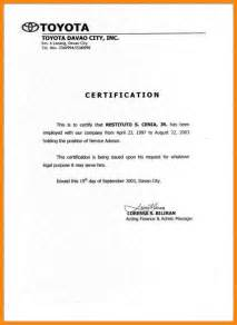 certification of employment letter template 11 sle certificate of employment resumed