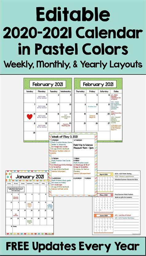 calendar printable  editable   updates  pastel colors  calendar