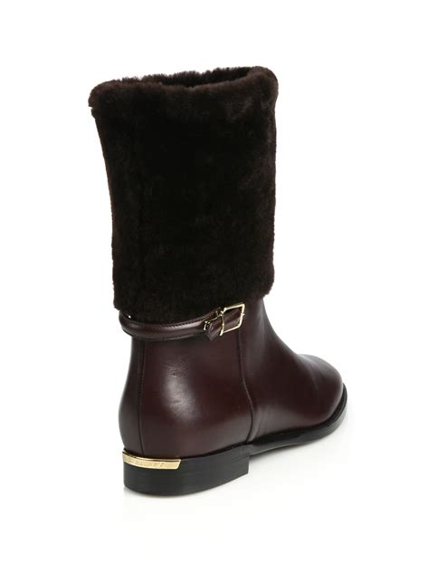 burberry marissa shearling leather mid calf boots in