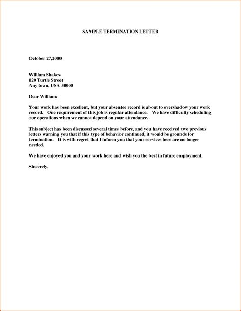 Termination Letter Template Free by Free Sle Termination Letter It Resume Cover Letter Sle