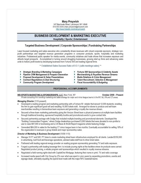 Athletic Business Manager Sle Resume by Executive Resume Sles