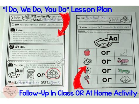 Rti Time Savers The Inspired Apple I Do We Do You Do Lesson Plan Template