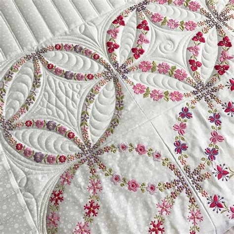 embroidered double wedding quilt orchidowlquilts