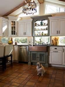 kitchen window backsplash terracotta floor kitchen