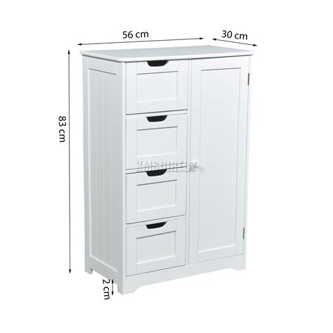 bathroom storage cabinets white foxhunter white wooden 4 drawer bathroom storage cupboard
