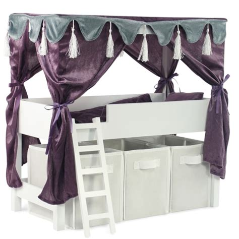 american girl doll canopy bed 18 inch doll furniture lofted canopy bed with storage